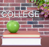 College book. Education concept with book and college word on wall Royalty Free Stock Photography