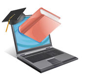 College Bookstore. A laptop wearing a graduation cap with a book emerging from the screen Royalty Free Stock Photography