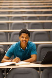 College boy lecture room. African american college boy in lecture room Royalty Free Stock Image
