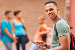 College boy tablet Royalty Free Stock Image