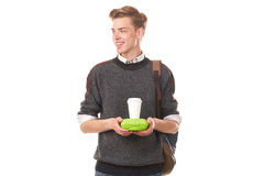 College boy about to have lunch Royalty Free Stock Photo