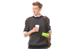 College boy about to have lunch Royalty Free Stock Image