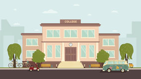 College Building Illustration. University or college building. Campus design, graduation university, school illustration Royalty Free Stock Images