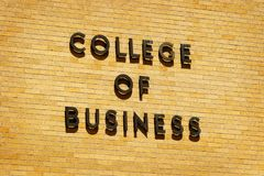 College of Business for Education. Sign for college of business for education Royalty Free Stock Photos
