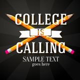 College is calling greeting with two crossed. Pencils and place for your text Stock Photo