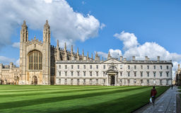 College in Cambridge. View of King's College in Cambridge, with the famous chapel on the left Stock Photo