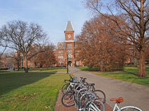 College campus. With bicycle rack Royalty Free Stock Photo