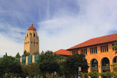College Campus. At Standford University California with Hoover tower and buildings Royalty Free Stock Photo