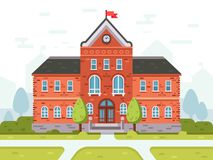 College campus for students or university building. Student house entrance vector illustration. College campus for students, school high or university building Royalty Free Stock Photography