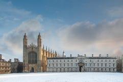 college Chapel在冬天,剑桥大学,英国国王的 库存照片