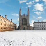 College Chapel de rey en el invierno, Universidad de Cambridge, Inglaterra fotografía de archivo