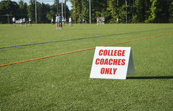 College Coaches Sign at Girls Lacrosse Recruiting Tournament royalty free stock image