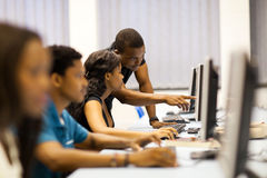 College computer room. African american college students in computer room royalty free stock images