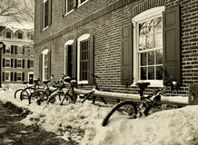 College Days. Abandoned bikes, buried under the snowfall Royalty Free Stock Images