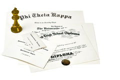 College Degree Documents Stock Images