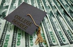 College Degree money. College Degree graduation cap on assorted hundred dollar bills Stock Photography