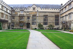 College Dormitory. Old College dormitory or resident hall with green lawns at Oxford University, UK stock image