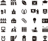 College and education icon set. Set of black and white glyph flat icons relating to college and education royalty free stock photo