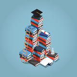 College Education illustration. Isometric vector illustration of giant heap of books, ladder near it and square academic cap, certificate, diploma and other Royalty Free Stock Photo