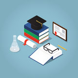 College education Illustration. Vector Isometric college / school education concept illustration. Stack of book with a hat, open book, glasses, framed diploma Royalty Free Stock Photos