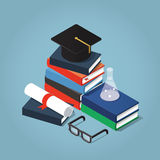 College education illustration. Vector Isometric college / university education concept illustration. Stack of book with a graduating hat, glasses, diploma, and Stock Photography