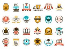 Free College Emblem. School Or University Identity Symbols Badges And Logo Vector Collection Royalty Free Stock Photos - 160448218