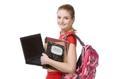 College female student girl with laptop, backpack Stock Image