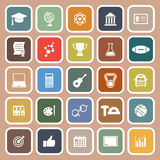 College flat icons on brown background Royalty Free Stock Images