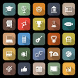 College flat icons with long shadow Royalty Free Stock Photography