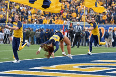 2014 College Football - Cheerleaders. MORGANTOWN, WV - OCTOBER 18: A cheerleader for West Virginia University perform during the Big 12 football game October 18 Royalty Free Stock Photos