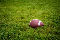 College football on grass field. With white lines royalty free stock image