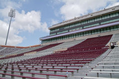 College football stadium. This is a college football stadium.  the colors are maroon and white Stock Photo