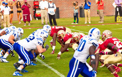 College Football. Tallahassee, FL - October 27, 2012:  College football game featuring the Florida State University Seminoles defense vs Duke University Blue Stock Image