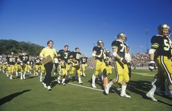 College football team. Filing onto field, West Point, NY Royalty Free Stock Photos