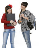 College friends. Two friends with a backpack and a book posing Royalty Free Stock Photography
