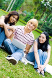 College friends. Group of young college students friends sitting on grass and studying laptop Royalty Free Stock Photography