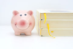 College fund concept with piggy bank standing near a pile of books Stock Photos