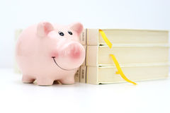 Free College Fund Concept With Piggy Bank Standing Near A Pile Of Books Royalty Free Stock Images - 85379449