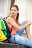 College girl with backpack stock photos