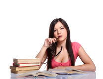 College girl with books Stock Photography