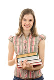 College girl with books; isoated on white Royalty Free Stock Images