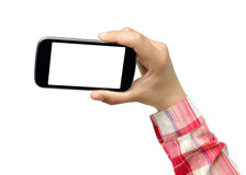 College girl holding smartphone Stock Photography