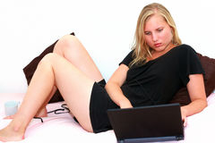 College girl on laptop Stock Photo
