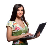 College girl with laptop Stock Photography