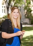 College Girl with Phone Stock Images