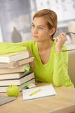 College girl smiling with books Royalty Free Stock Images