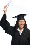 College girl student. With diploma isolated on white background. Latina girl student Stock Images