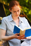 College Girl Studying in Park Stock Photo