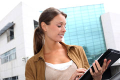 College girl studying with tablet Stock Images