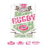 College girl team rugby retro emblem and design elements Stock Photography